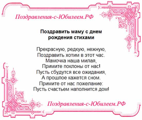 Поздравление маме с днем рождения 55
